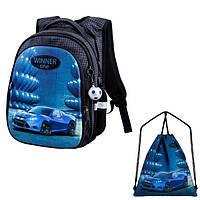 Школьный рюкзак для мальчика Winner черный с машиной + сумка для обуви R1-006 k