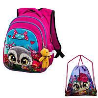 Рюкзак для девочки Winner розовый с совой + сумка для обуви R2-161k