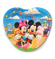 """Тарелки бумажные одноразовые в форме сердца """" Микки и Минни """" 18 см,10 шт."""