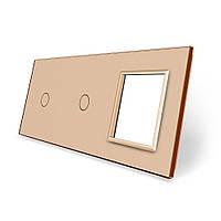 Сенсорная панель выключателя Livolo 2 канала и розетку (1-1-0) золото стекло (VL-C7-C1/C1/SR-13), фото 1