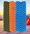 Коврик надувной туристический, матрас LIGHT TOUR (волна) Оранжевый., фото 5
