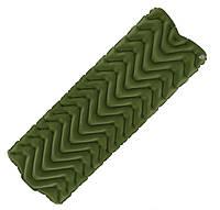 Туристический надувной коврик, матрас LIGHT TOUR (волна) зеленый.