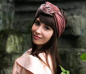 """Оксамитовий тюрбан """"Пудрова троянда"""", пов'язка тюрбан, головний убір, шапка тюрбан, подарунок жінці"""