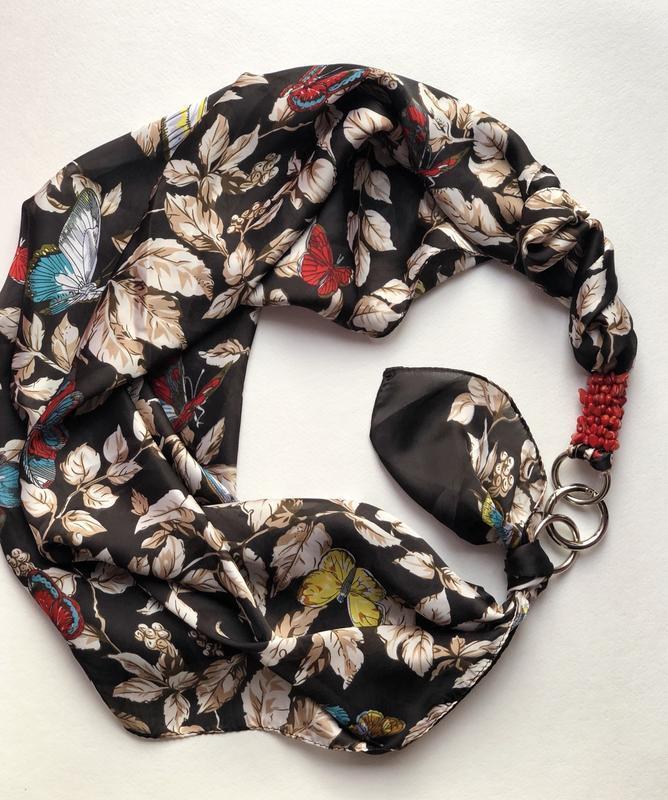 """""""Весенние бабочки """" шелковый шарф, атласный платок, шарф-колье, шарф-чокер, шейный платок"""