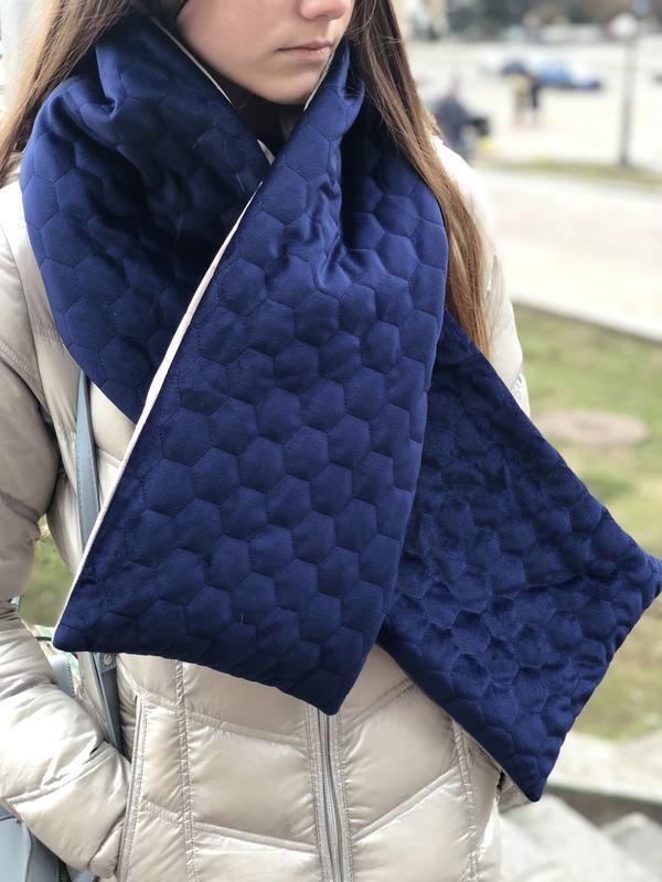 Стильный бархатный стёганный шарф ,,Нью Йорк,,, зимний шарф, унисекс, тёплый шарф