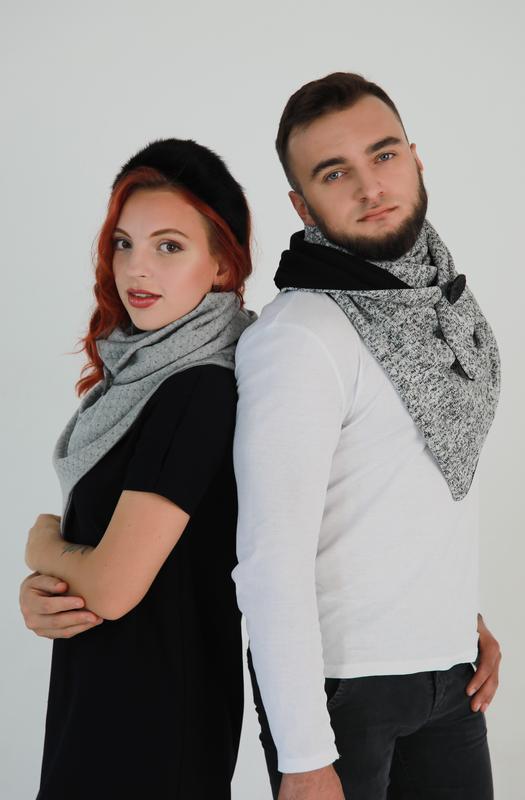 Новогодний набор из 2х больших зимних шарфов , набор для него и для нее