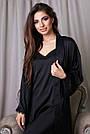 Халат и ночнушка чёрная шёлковая женская, фото 3