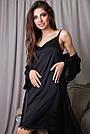 Халат и ночнушка чёрная шёлковая женская, фото 4