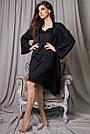 Халат и ночнушка чёрная шёлковая женская, фото 5