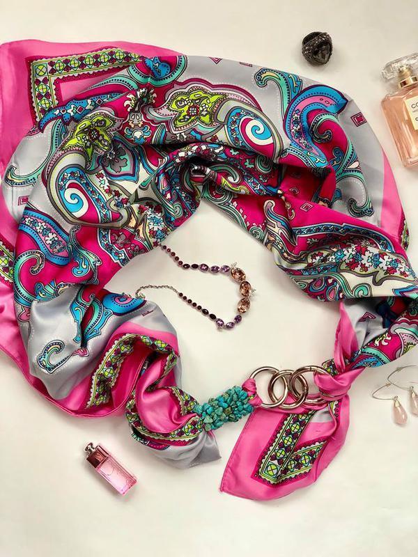 """""""Рожеві мрії"""" Атласний хустка, шарф, шарф-кольє, шарф-чокер, шийну хустку, подарунок жінці"""