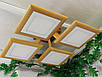 Потолочный светильник из первосортного дерева, современный стиль, квадратная форма, на 4 led панели  по 12 Вт., фото 2