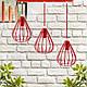 """Подвесной металлический светильник, современный стиль, loft, vintage """"KAPLIA-3R"""" Е27  красный цвет, фото 7"""