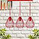 """Подвесной металлический светильник, современный стиль, loft, vintage """"KAPLIA-3R"""" Е27  красный цвет, фото 9"""