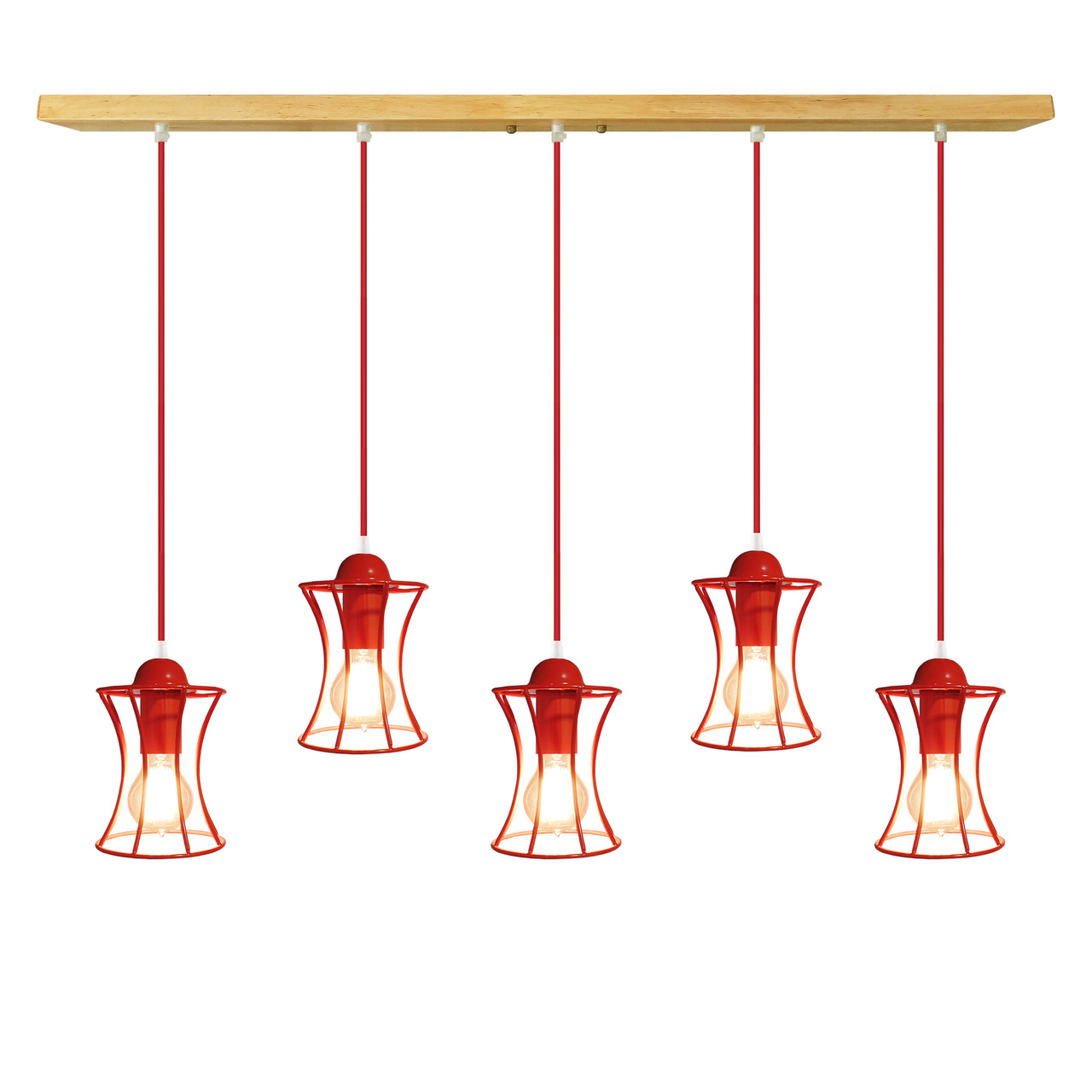 """Подвесная люстра """"SANDBOX-5"""" Е27  красный цвет, светлое дерево (W520)"""