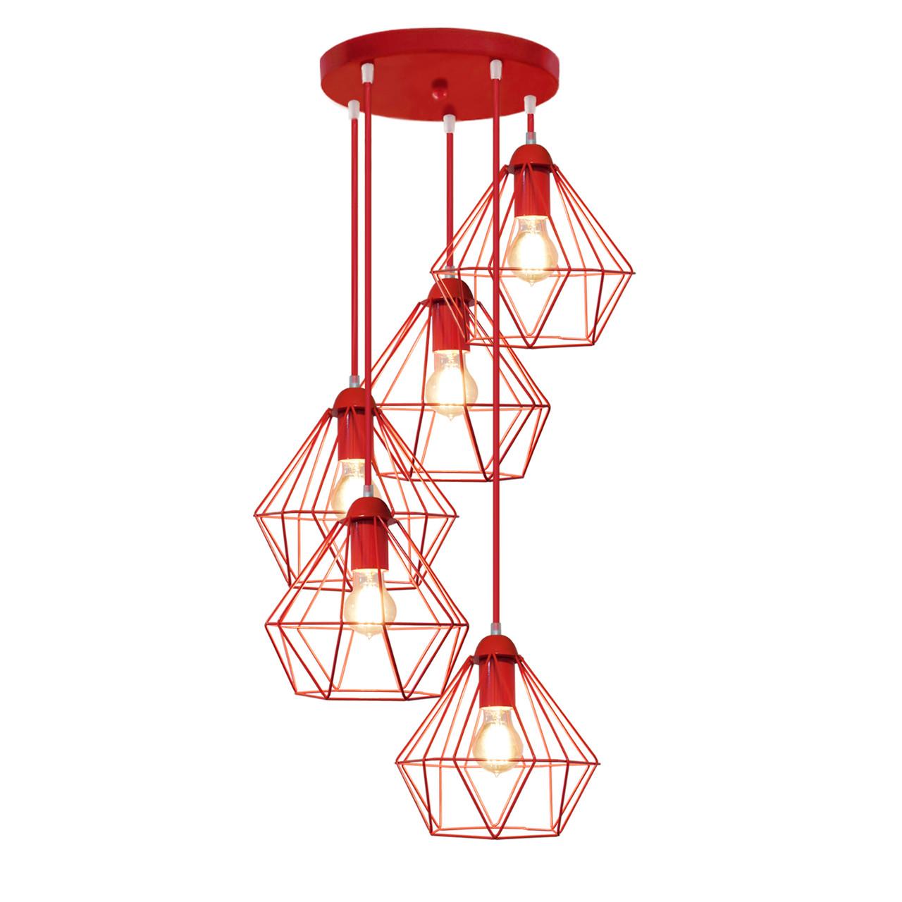 """Подвесной металлический светильник, современный стиль, loft, vintage  """"CLASSIC-5GR"""" Е27  красный цвет"""