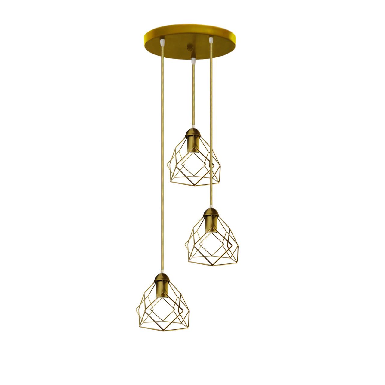"""Подвесной металлический светильник, современный стиль """"RUBY-3GG"""" Е27  золотой цвет"""