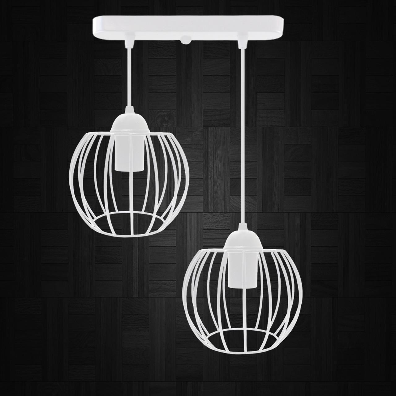 """Подвесной металлический светильник, современный стиль """"BARREL-2W"""" Е27  белый цвет"""