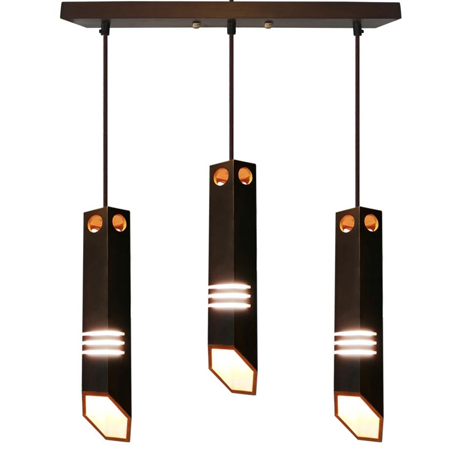 """Подвесной светильник """"LIZA-3"""" Е27 натуральное дерево, темное дерево, лофт освещение"""