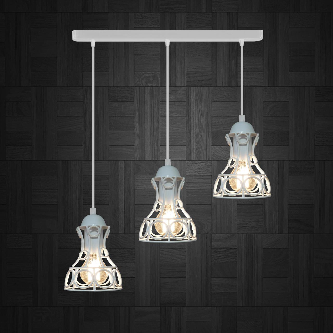 Подвесной  светильник, индустриальный стиль стиль, loft, vintage RINGS-3 Е27  белый