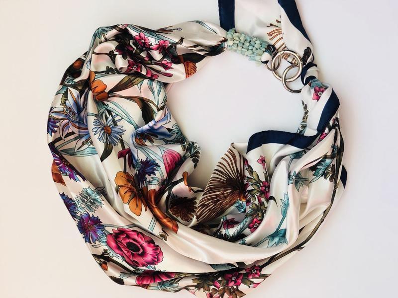"""""""Польові квіти"""" атласний шарф, хустка, шарф-кольє, шарф-чокер, шийна хустка"""