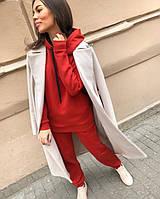 Женский летний весенний спортивный свободный костюм с капюшоном двухнить 42-44 44-46 черный  красный