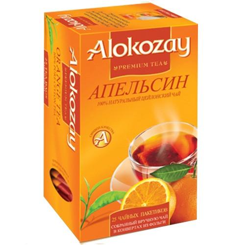 Чорний чай ALOKOZAY з ароматом і смаком апельсина 25 пакетиків