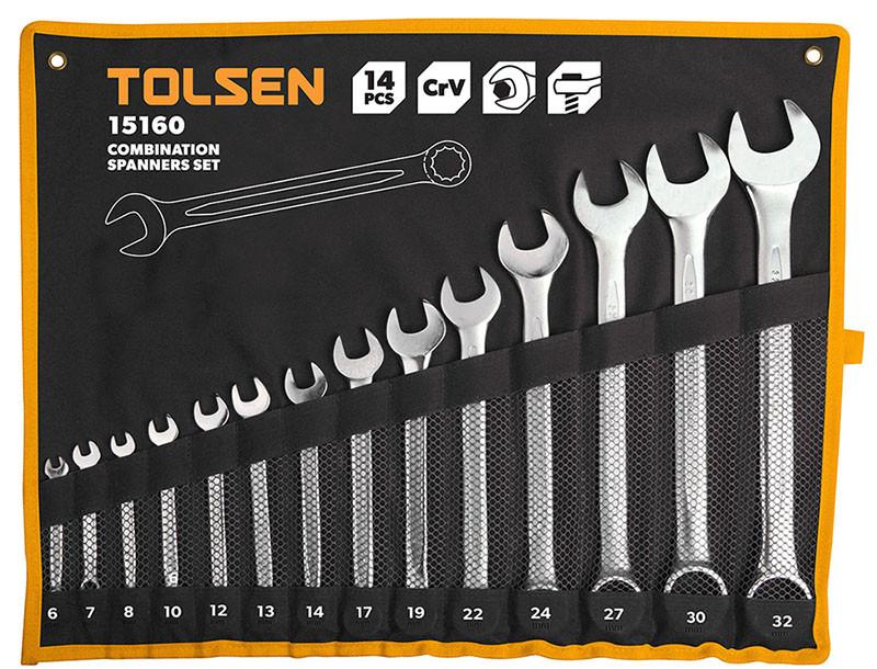 Набор комбинированных рожково-накидных ключей Tolsen 14 шт. (15160)