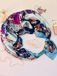 """""""Голубая орхидея """" атласный шарф, платок, шарф-колье, шарф-чокер, шейный платок"""