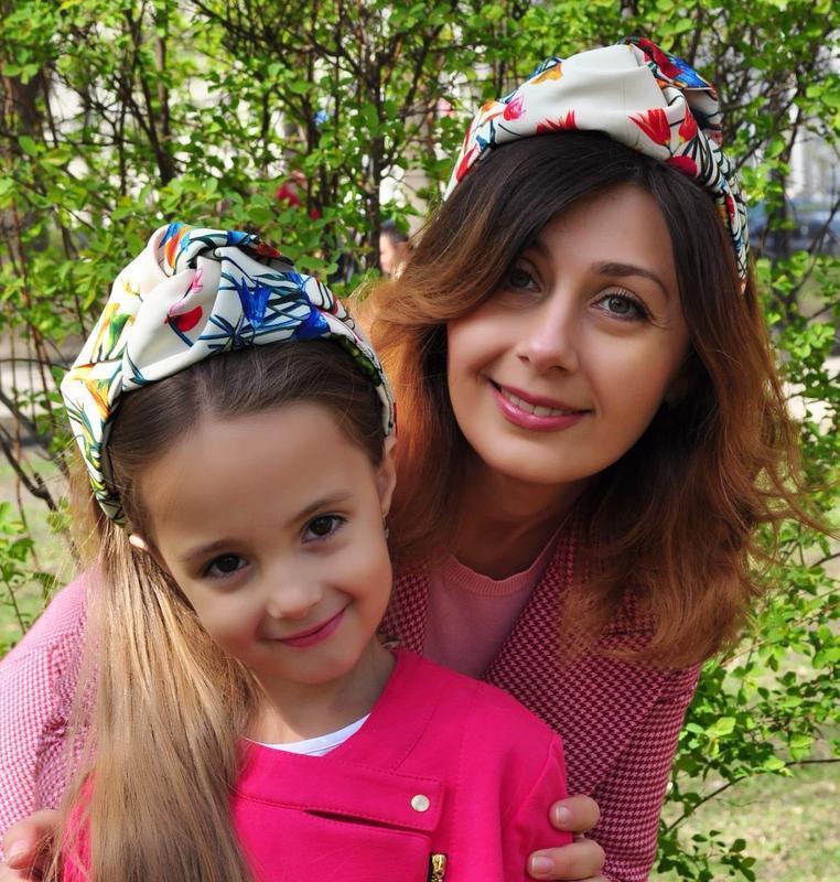Комплект (мама дочка) тюрбан-обруч, повязка обруч, повязка на голову