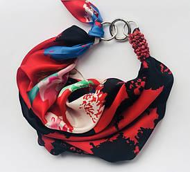 """Річна румба"" 100% Шовковий шарф, хустка, шарф-кольє, шарф-чокер, шийна хустка"