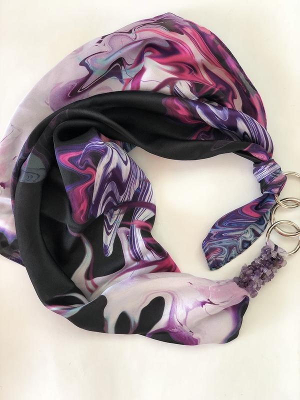 """100% шелковый платок, шелковый шарф, шарф-ожерелье """"Лава страстей"""""""