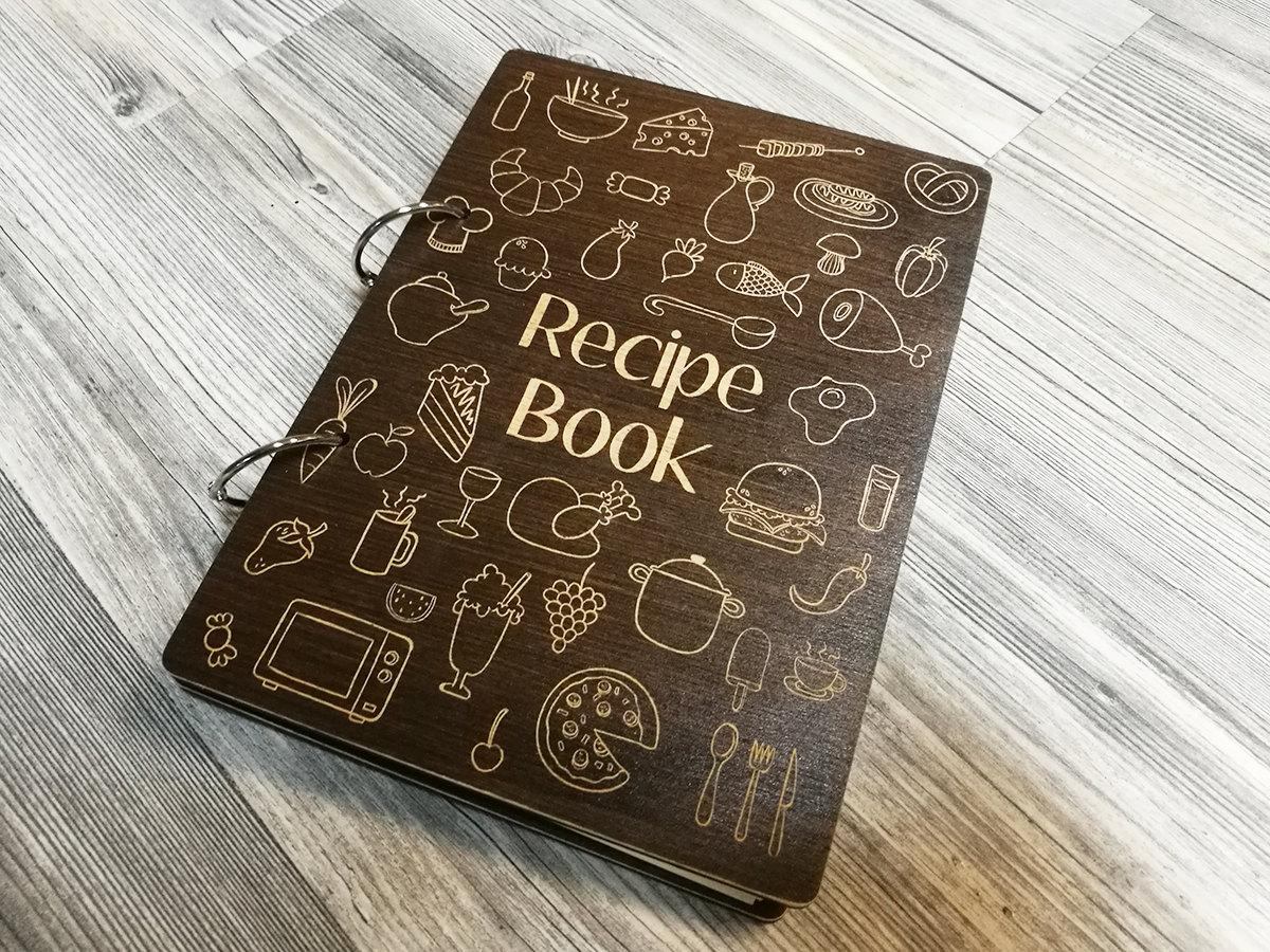 Купить Деревянная книга для записи кулинарных рецептов, собств