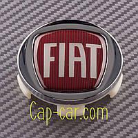 Колпачки, заглушки для литых дисков Fiat. хром+красный (57/60мм)