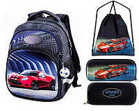 Рюкзак для мальчика Winner черный с машиной + пенал+ сумка для обуви 1710k