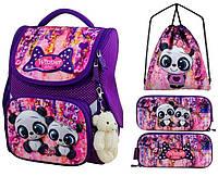 Рюкзак для девочки Winner фиолетовый с мишками + пенал+ сумка для обуви 2042k