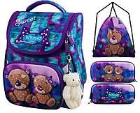Рюкзак для девочки Winner фиолетовый с мишками + пенал+ сумка для обуви 2044k