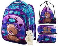 Рюкзак для девочки Winner фиолетовый с мишкой + пенал+ сумка для обуви 5005k