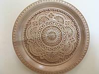 Різьбленна тарілка ручної роботи сувенірна в асортименті 23,5 см, фото 1