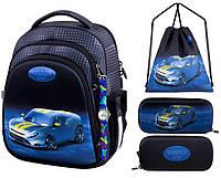 Рюкзак для мальчика Winner черный с машиной + пенал+ сумка для обуви 5008k