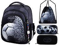Рюкзак для мальчика Winner черный с футбольным мячом + пенал+ сумка для обуви 5010k