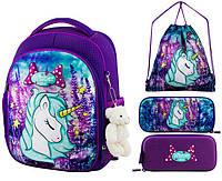 Рюкзак для девочки Winner фиолетовый с единорогом + пенал+ сумка для обуви 6015k