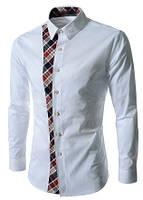Белая мужская рубашка с латками