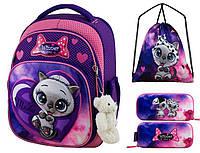 Рюкзак для девочки Winner фиолетовый с котиком + пенал+ сумка для обуви 7003k