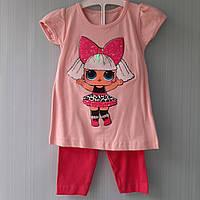 Костюм летний для девочек с лол LOL светящийся( футболка и бриджи) p. 3 и 5 лет