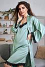 Шёлковая ночнушка с халатом женская бирюзовая, фото 5