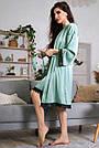 Шёлковая ночнушка с халатом женская бирюзовая, фото 6