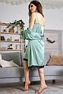 Шёлковая ночнушка с халатом женская бирюзовая, фото 7