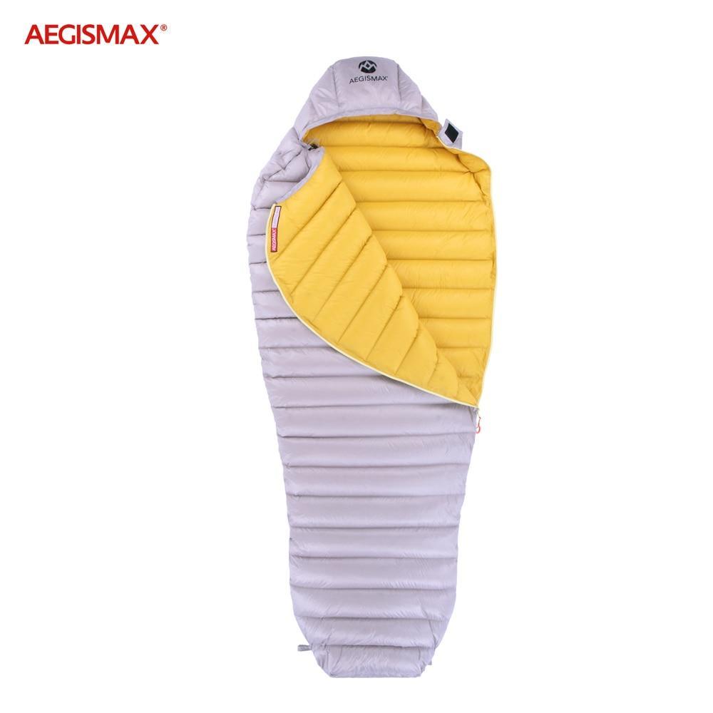 Пуховый спальный мешок Aegismax LETO +7°C +2°C. Размер M 700FP Серый.
