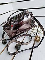 Кожаная бронзовая женская сумка через плечо сумочка кросс-боди натуральная кожа
