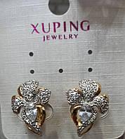 Серьги из медицинского золота золотистые в форме цветка с камнем